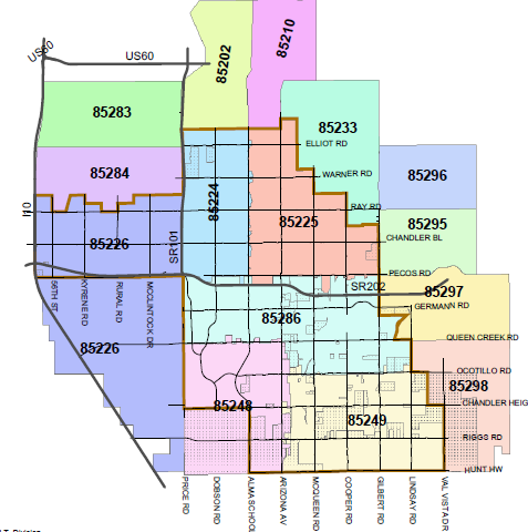 Gilbert Zip Codes Map | Zip Code MAP
